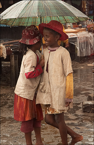 Girls at market, Madagascar